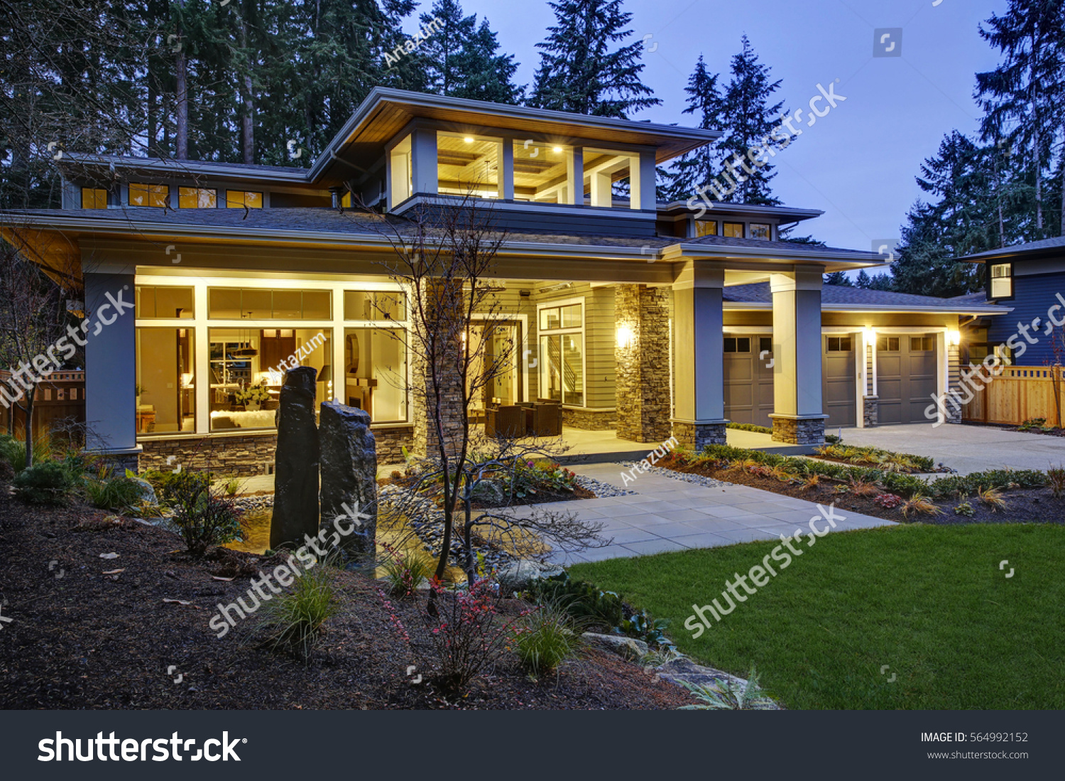 Luxurious New Construction Home Exterior Front Stock Photo ... on Outdoor Living Spaces Nw id=93034