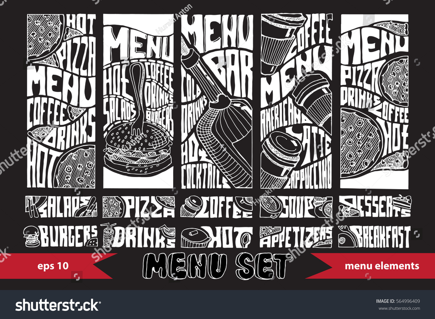 Restaurant menu design elements set stock vector