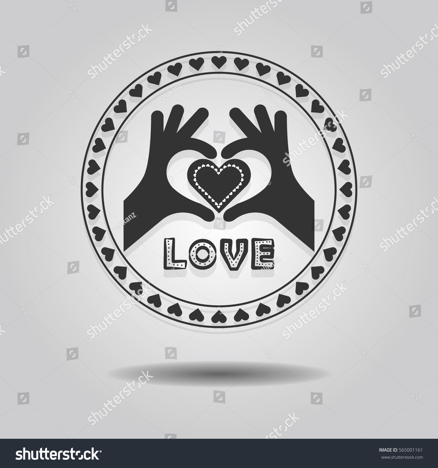 Abstract showing heart symbol hands word stock vector 565001161 abstract showing heart symbol hands and word love in circle emblem on gray gradient background buycottarizona