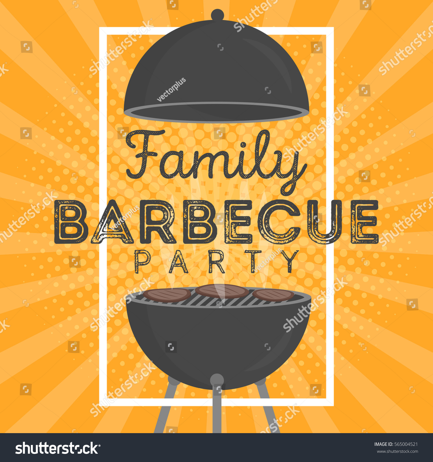 Lovely vector barbecue party invitation design stock vector lovely vector barbecue party invitation design template trendy bbq cookout poster design with classic charcoal pronofoot35fo Images