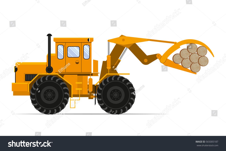 Tractor Loader Wood Vector Stock Vector 565005187