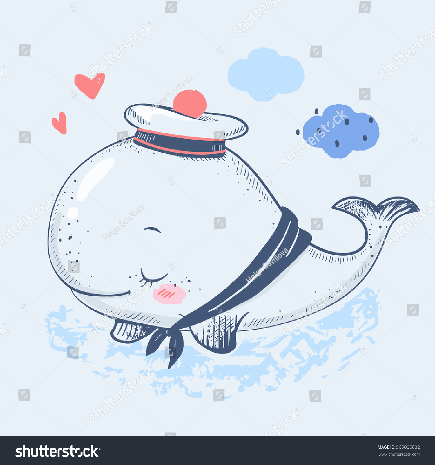 cute baby whale sailor suit cartoon stock vector 565005832