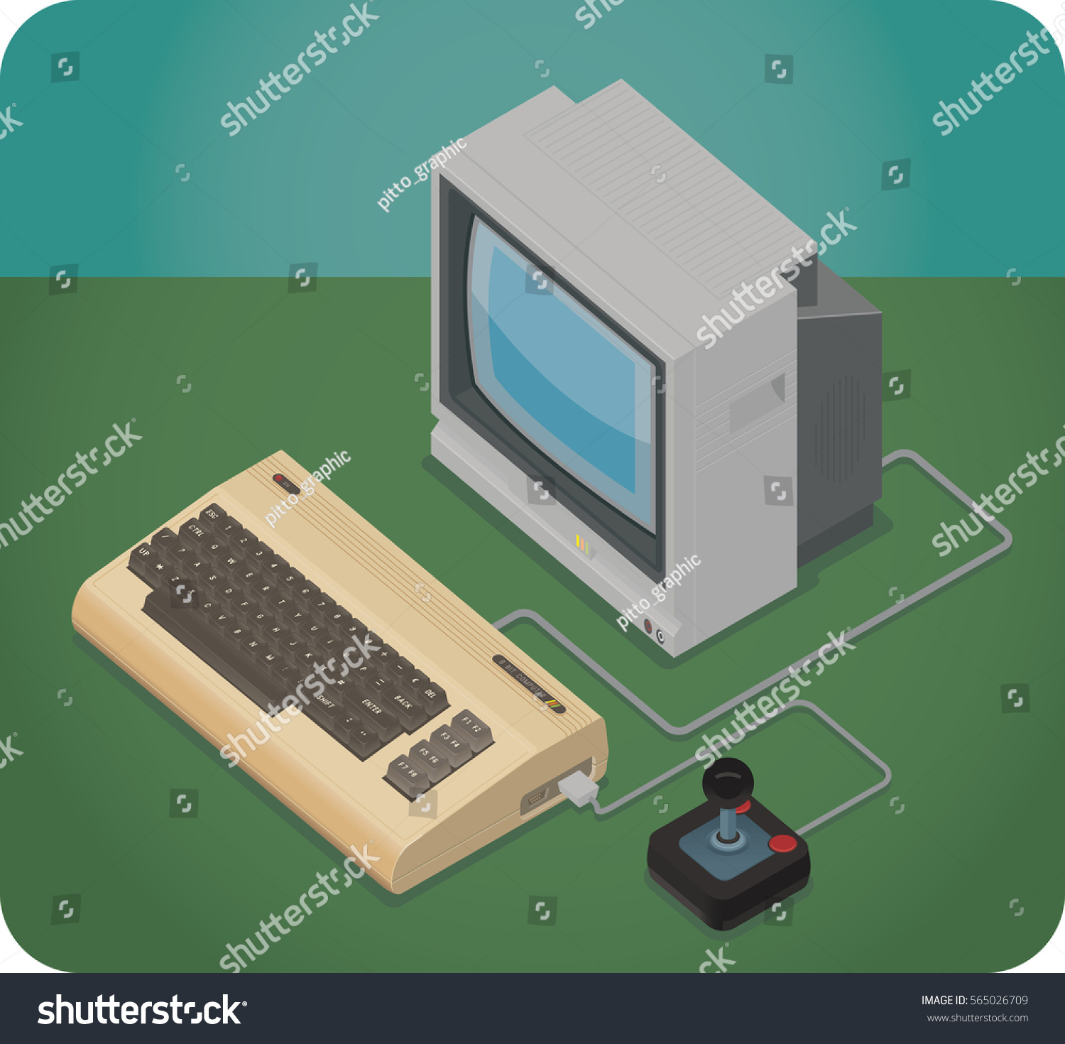 Vintage Computer Crt Monitor Joystick Isometric Stock Vector Diagram A With And Picture
