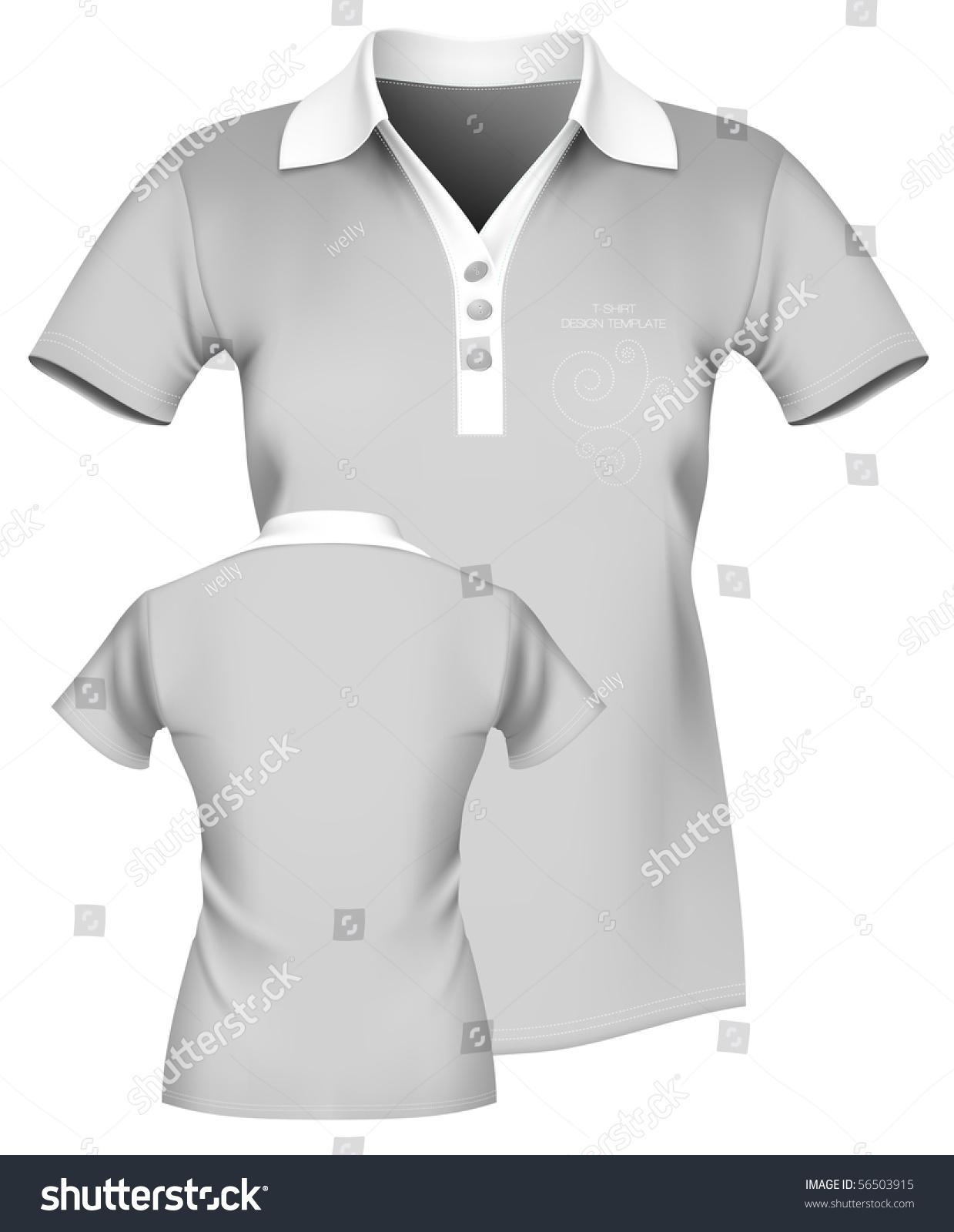 Vector Illustration Womens Polo Shirt Template Stock Vector (Royalty ...
