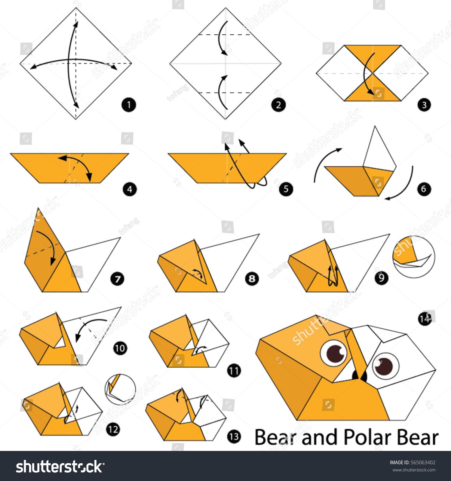 Easy Origami Bear - Panda Bear - Polar Bear - Brown Bear - Red Ted ... | 1600x1500