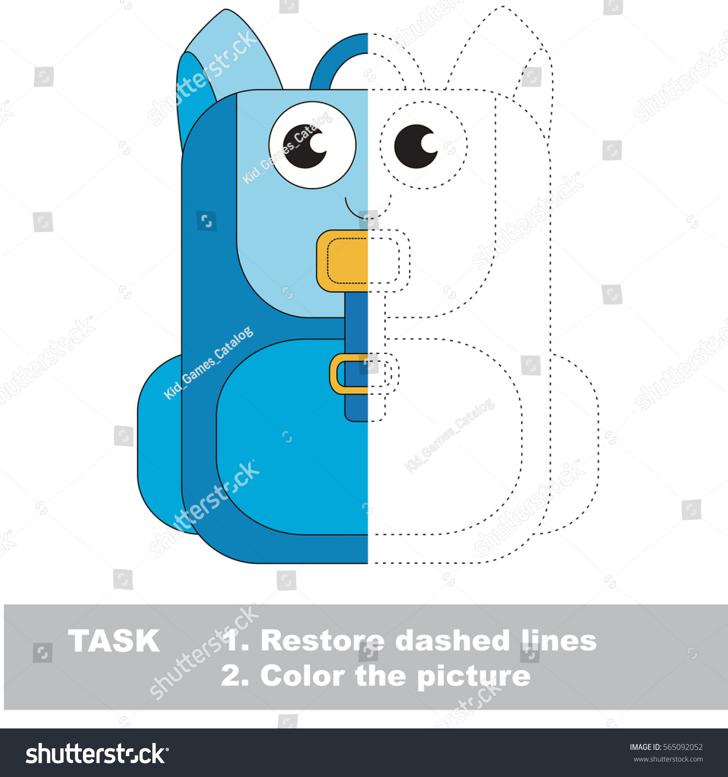 Backpack Dot Dot Educational Game Kids Stock Vector (Royalty Free ...
