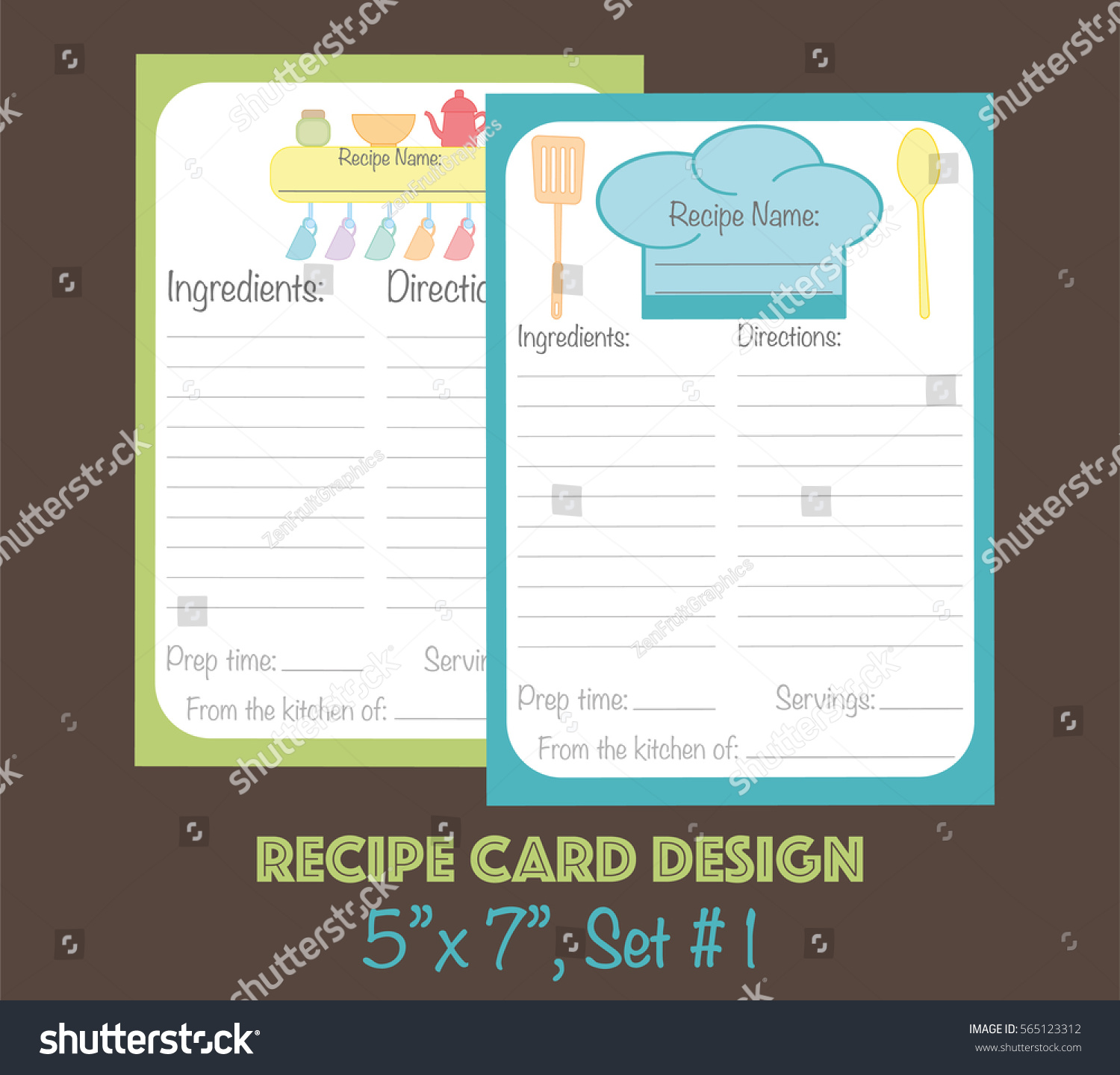 Cute Recipe Cards Vector Card Decorated With Kitchenware Elements