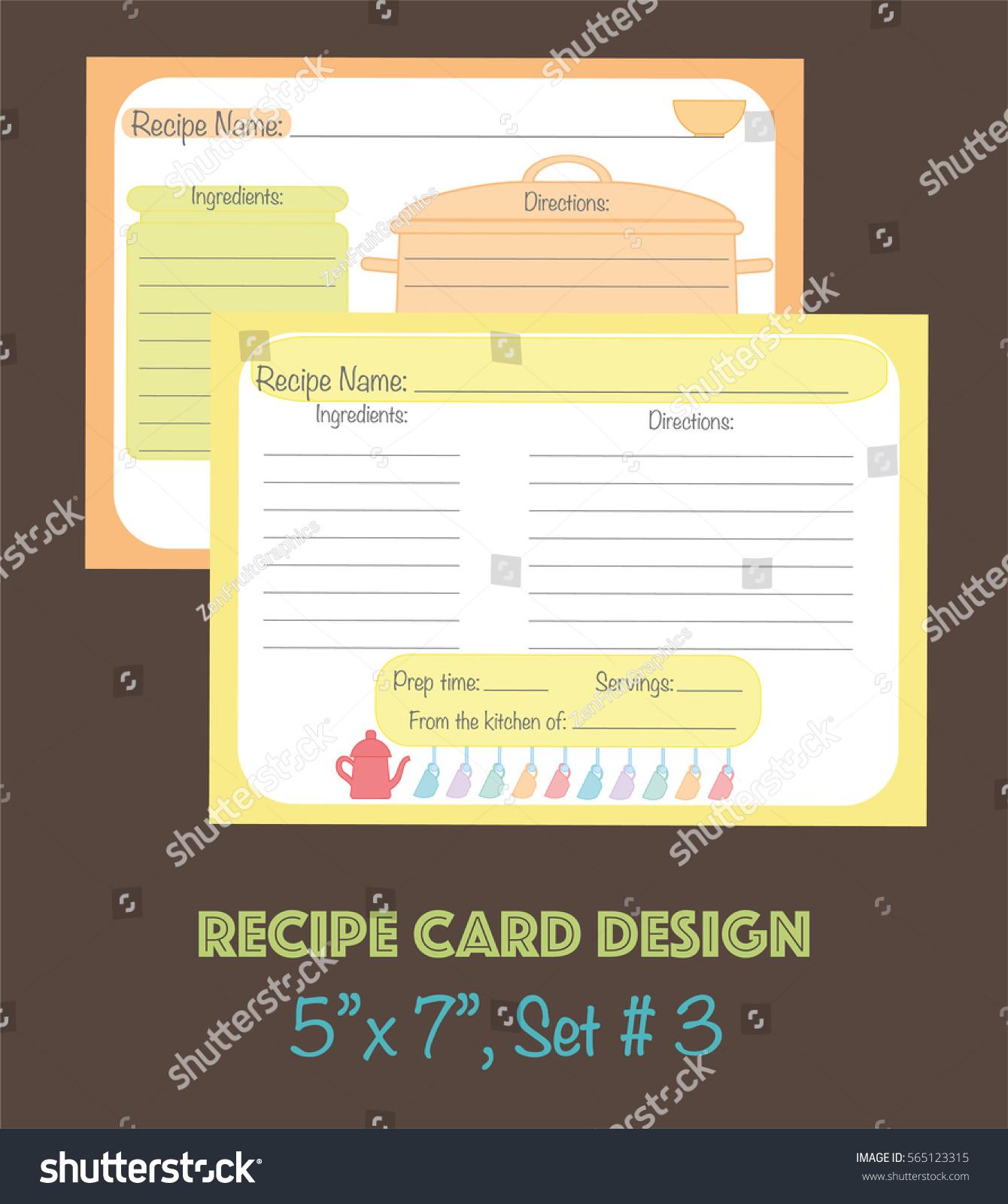 Decorative Recipe Cards Set Cute Vector