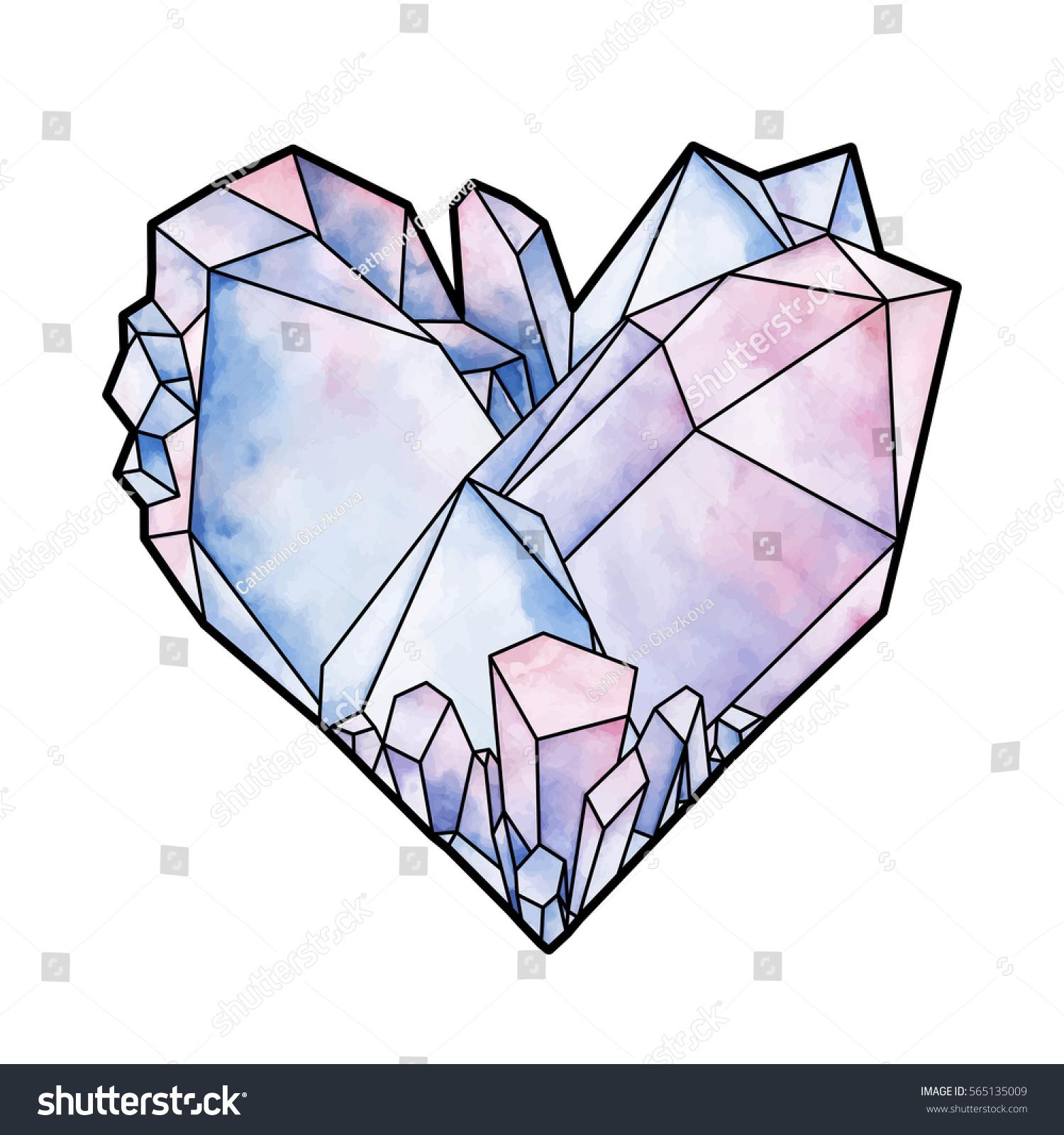 Schön Graphic Crystals Shape Heart Vector Valentine Stock Vector .