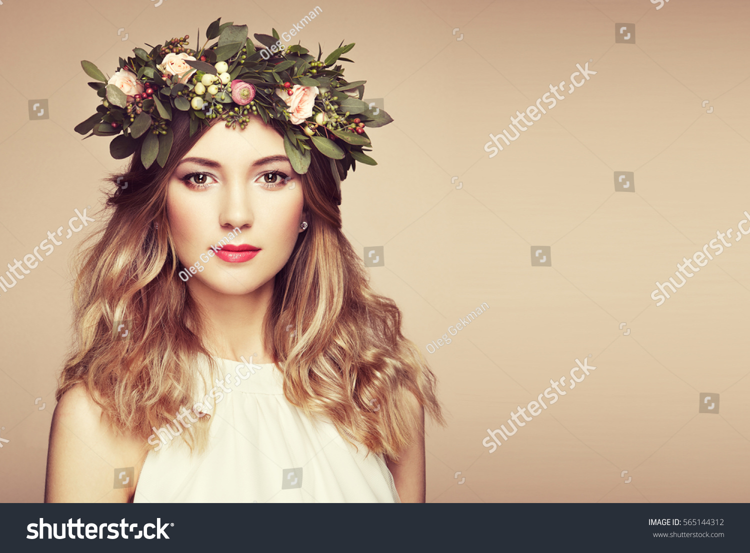Beautiful Blonde Woman Flower Wreath On Stock Photo Royalty Free