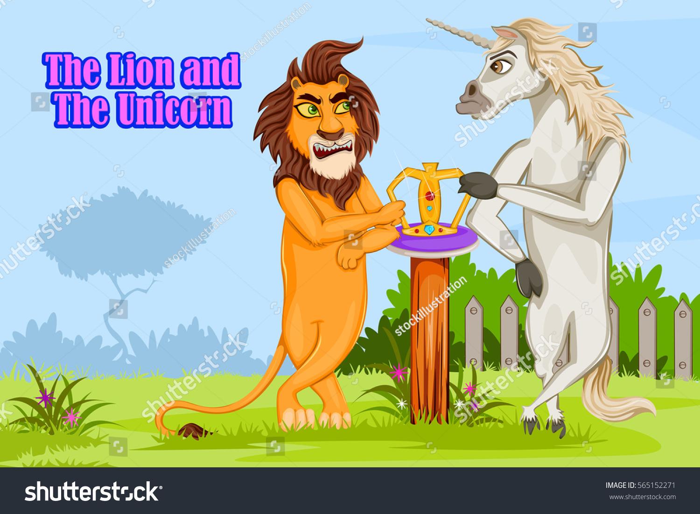 lion unicorn kids english nursery rhymes stock vector 565152271