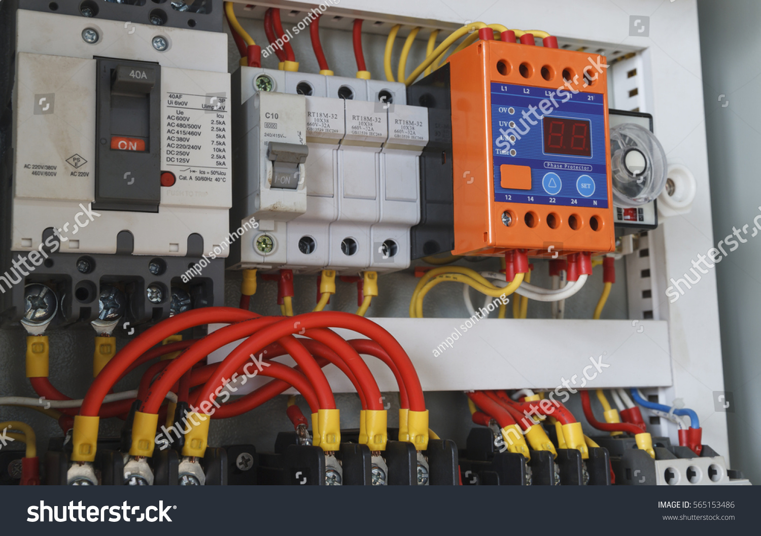 Closeup Electrical Wiring Timer Contactors Stock Photo Edit Now Electric Contactor Close Up With And