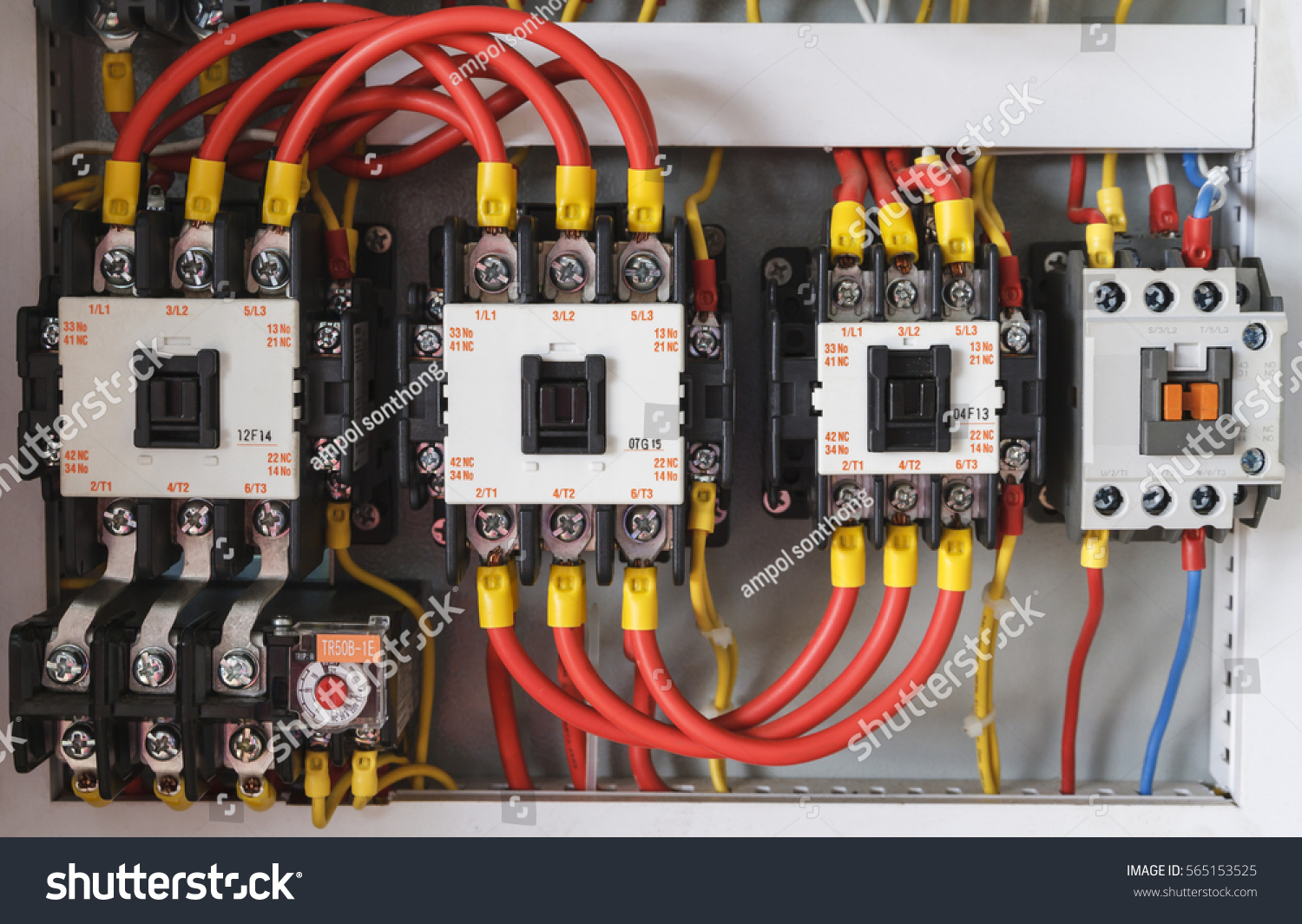 Closeup Electrical Wiring Fuses Contactors Stock Photo Edit Now Electric Contactor Close Up With And