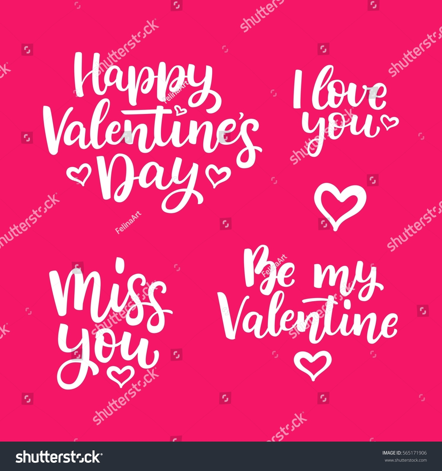Set Of Hand Drawn Vector Lettering Quotes For Valentineu0027s Day. Miss You.  Happy Valentineu0027s
