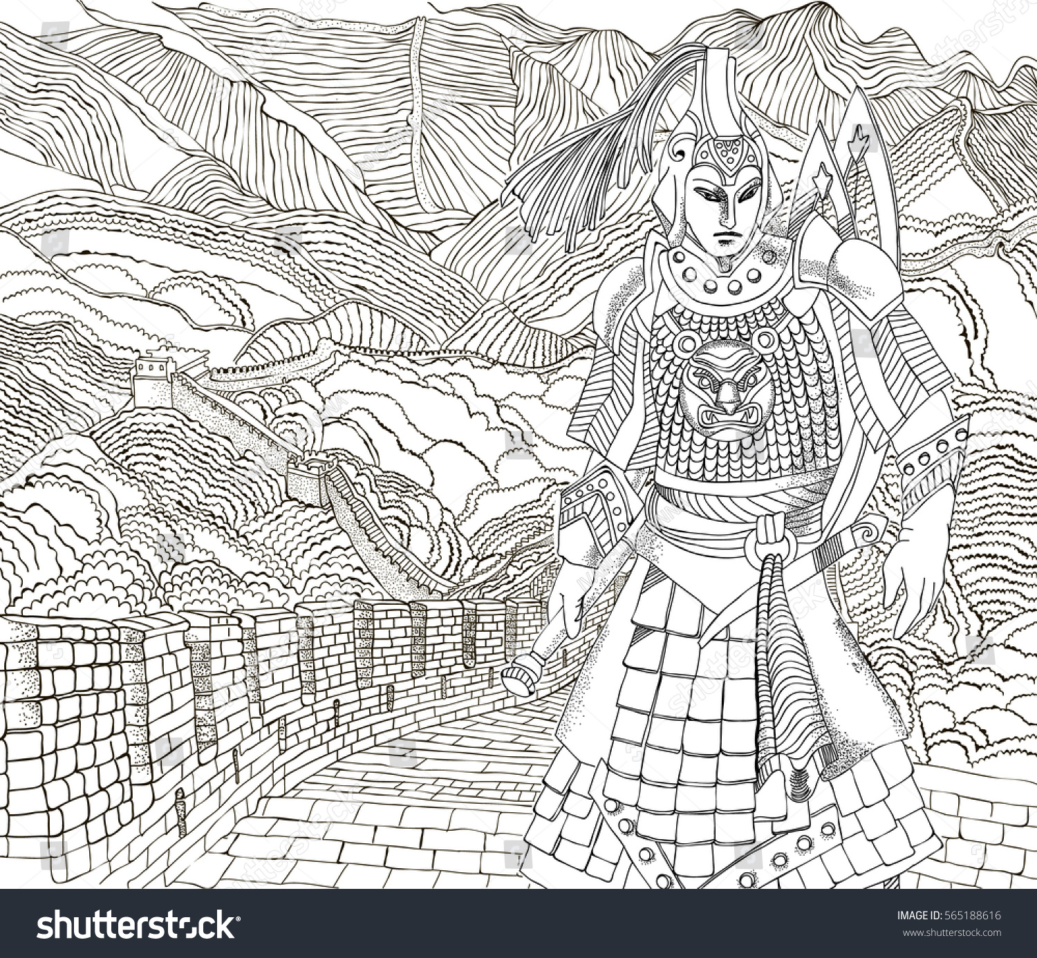 coloring pages beautiful chinese warrior against the backdrop of the great wall of china - Great Wall China Coloring Page