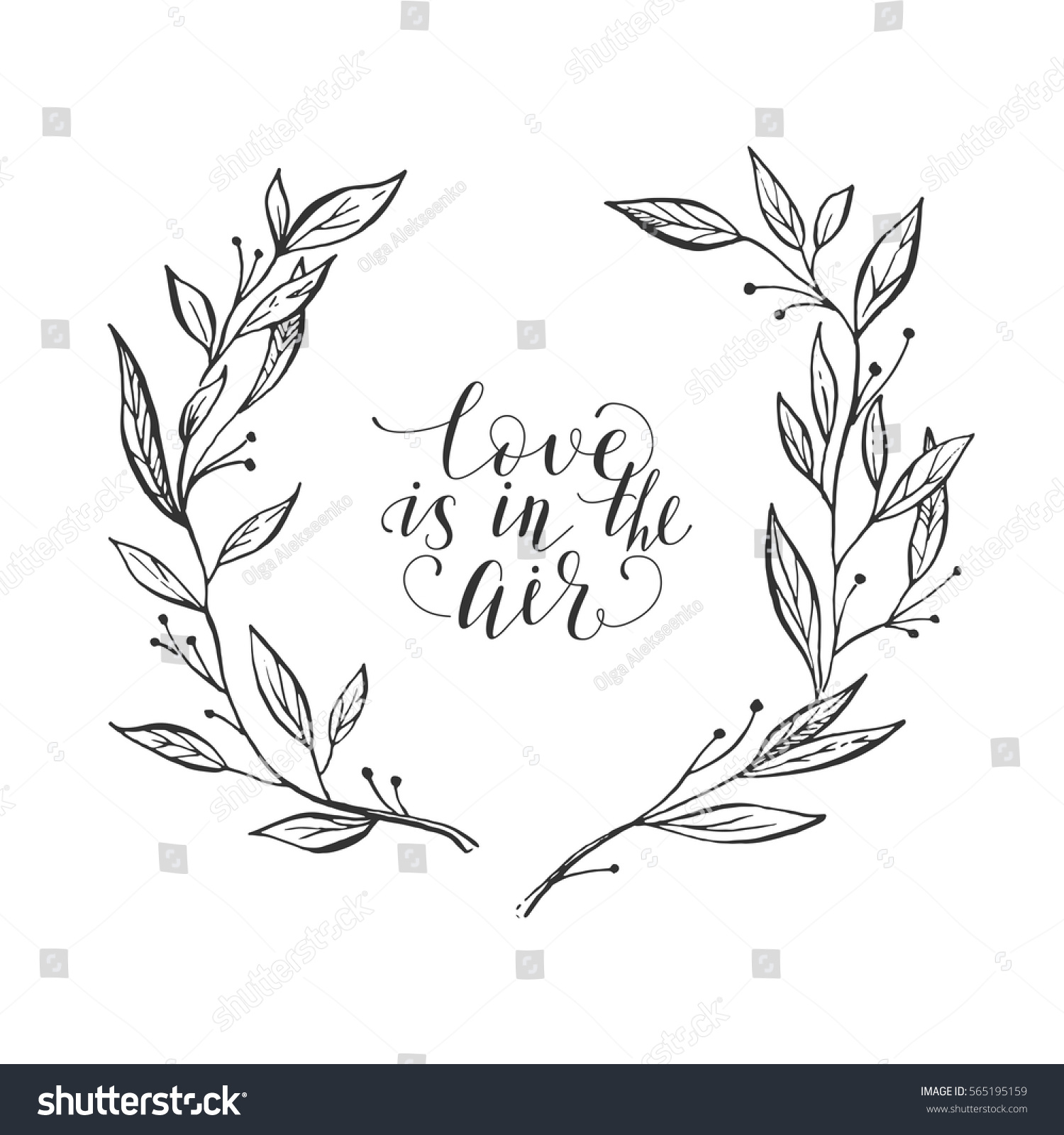 Flower wreath card valentines day calligraphy stock vector