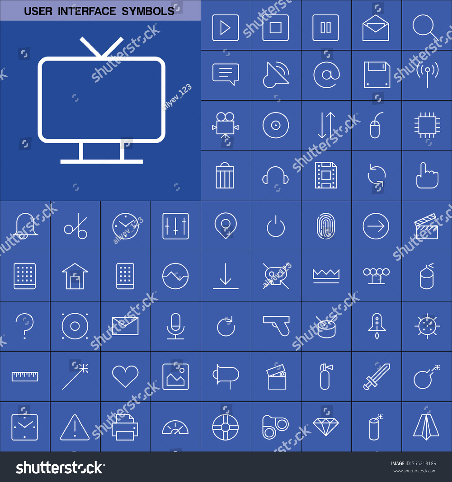 Set user interface symbols icons contains stock vector 565213189 set of user interface symbols icons contains such icons as videocamera location pin buycottarizona