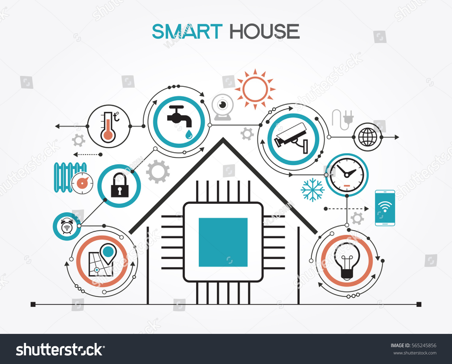 smart home control concept smart house stock vector 565245856 shutterstock. Black Bedroom Furniture Sets. Home Design Ideas