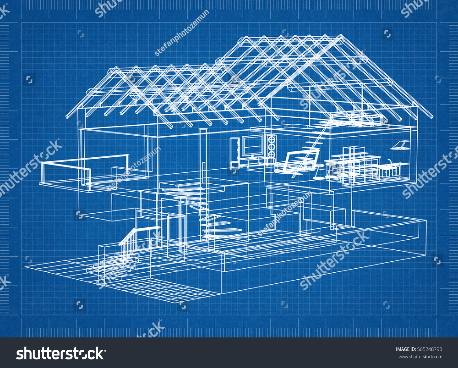 Architectural blueprint house stock illustration 565248790 architectural blueprint of a house malvernweather Images