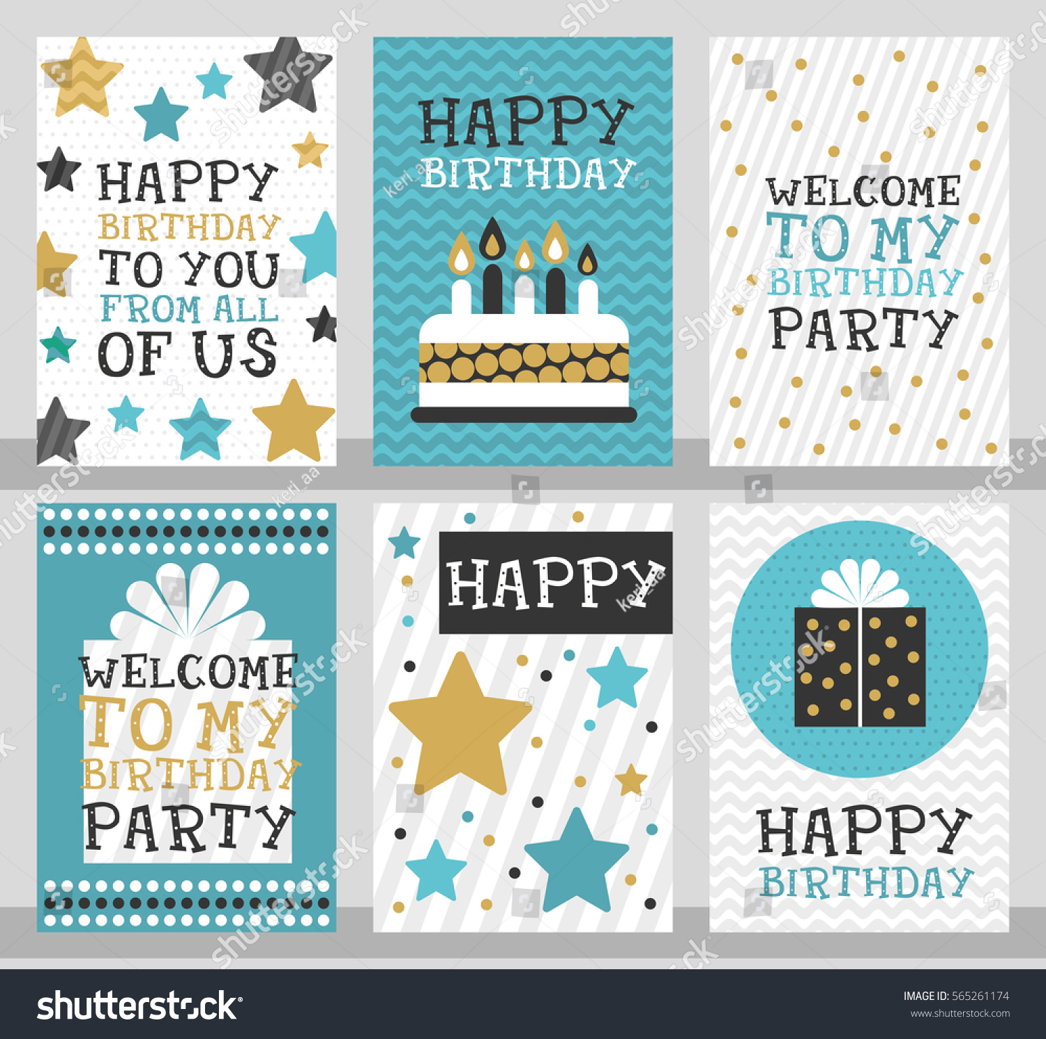 6 Birthday Card Templates: Set 6 Cute Creative Cards Templates Stock Vector 565261174