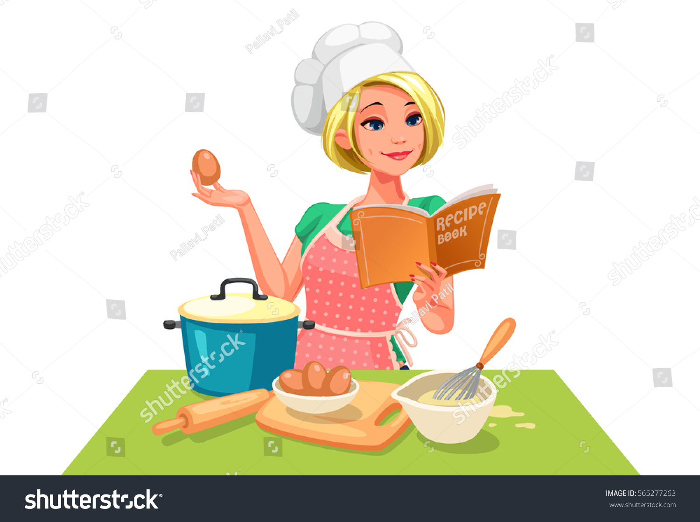White Kitchen Design Chief Cook Stock Vector 565277263 Shutterstock