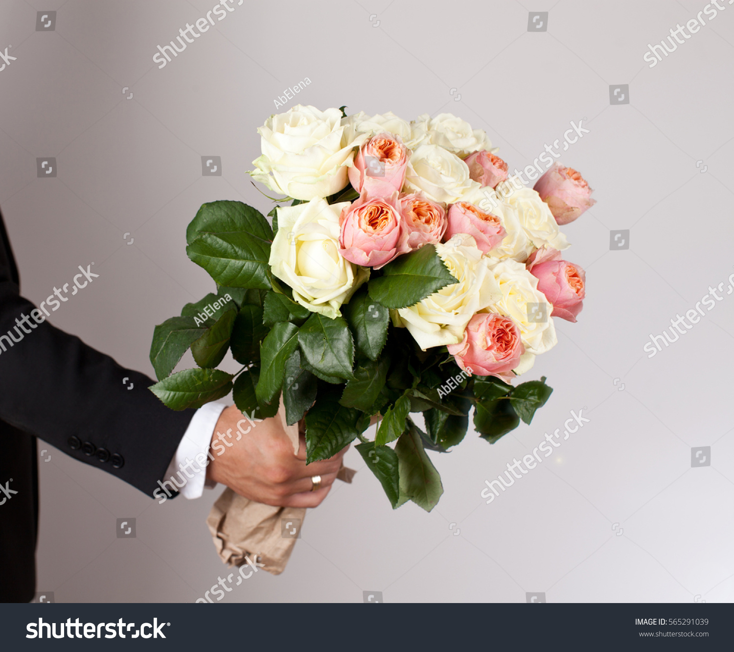 Man Big Beautiful Bouquet Nice Flowers Stock Photo (Royalty Free ...
