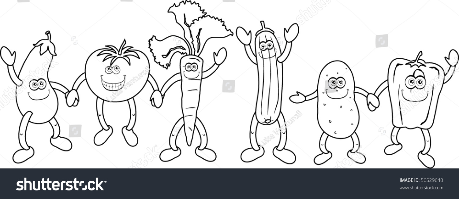 funny vegetable black white color will stock vector 56529640