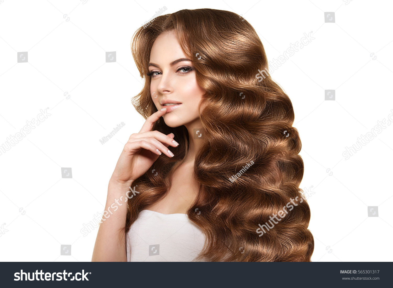 Long Hair Waves Curls Updo Hairstyle Stock Photo Edit Now