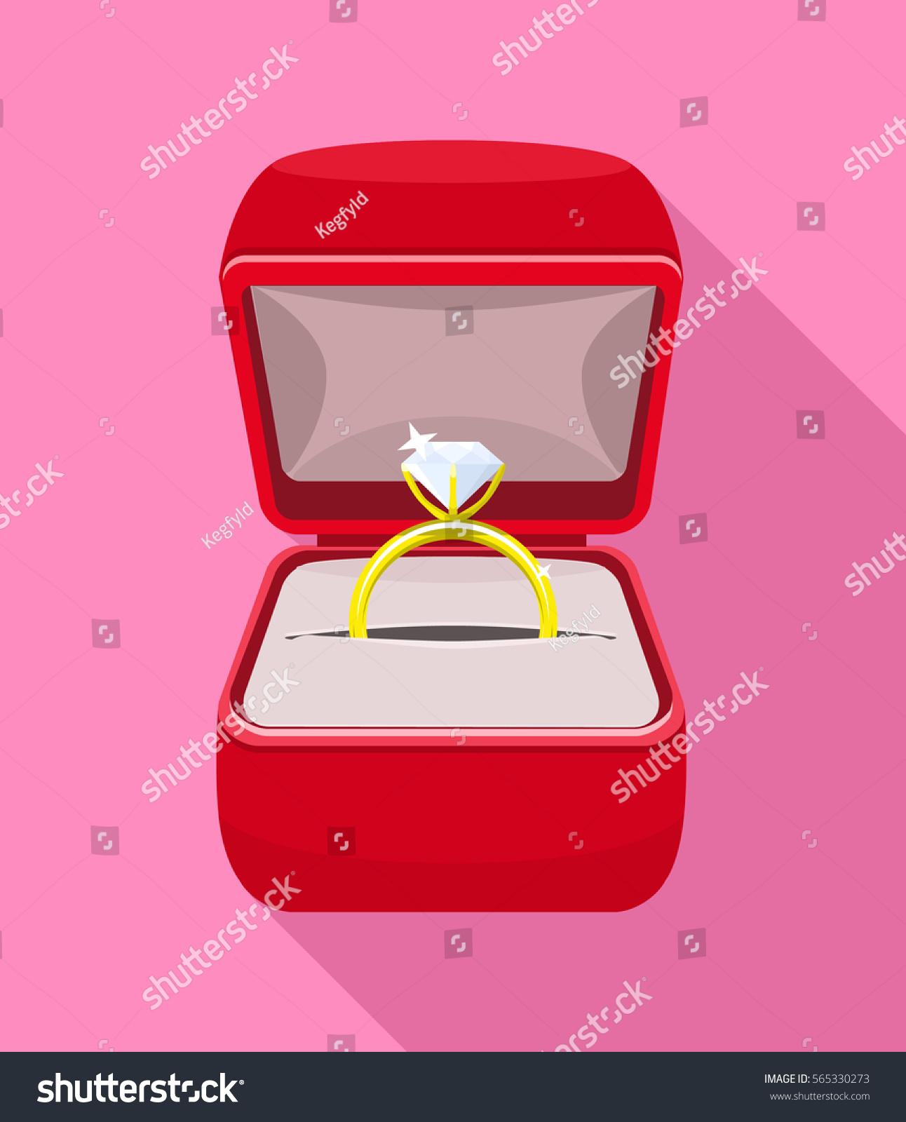 Engagement Diamond Golden Ring Red Ring Stock Vector 565330273 ...