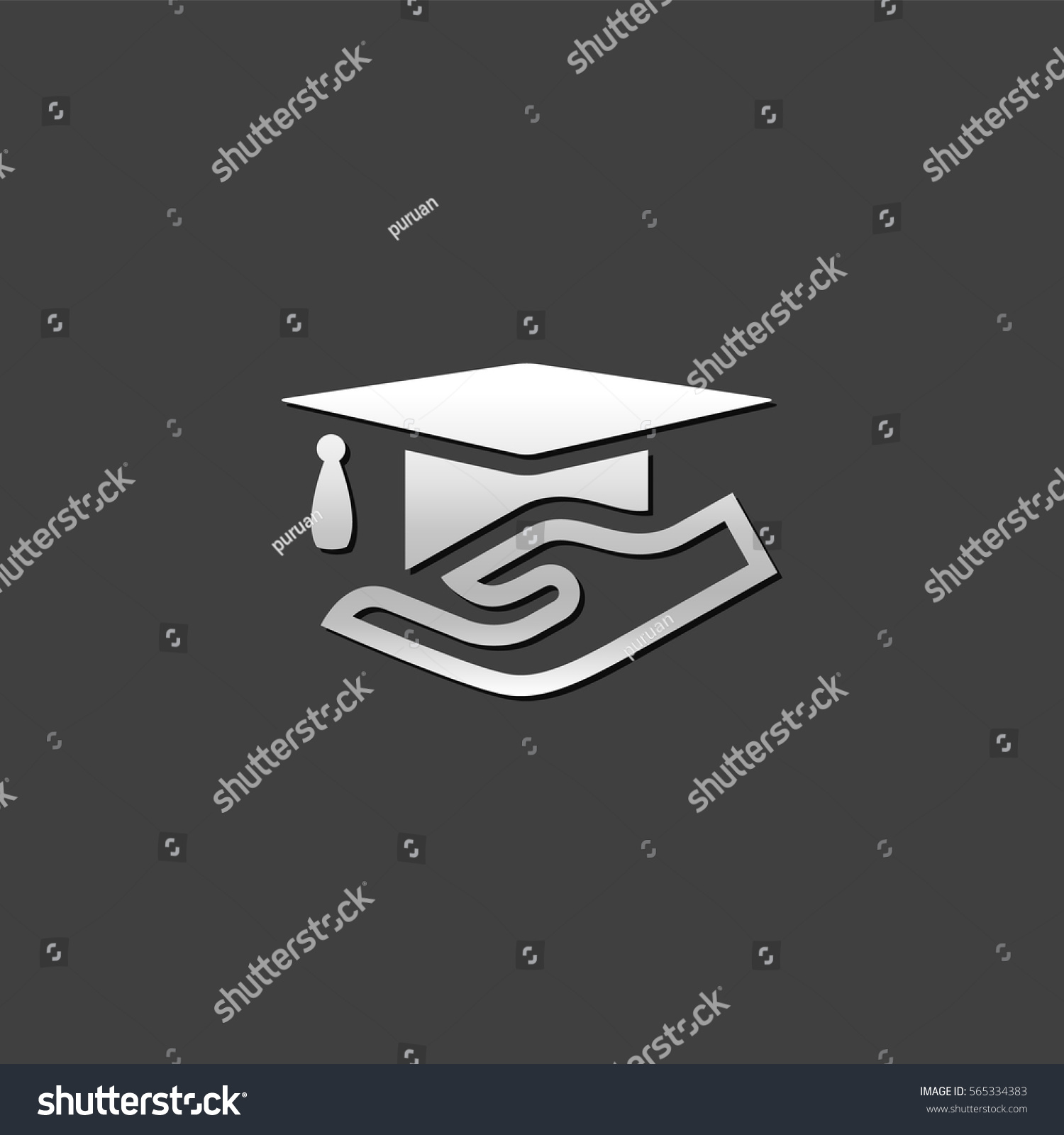 hand holding diploma icon metallic grey stock vector  hand holding diploma icon in metallic grey color style education school insurance