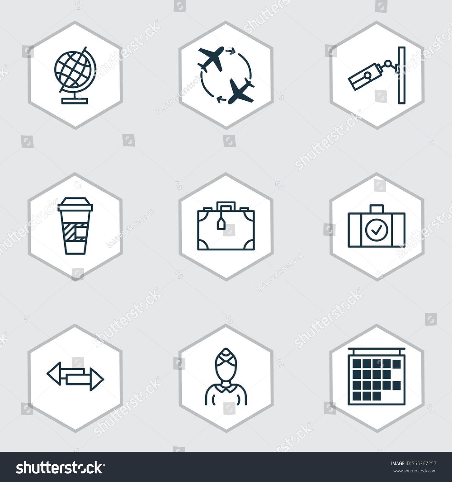 Set 9 Travel Icons Includes Hostess Stock Vector 565367257