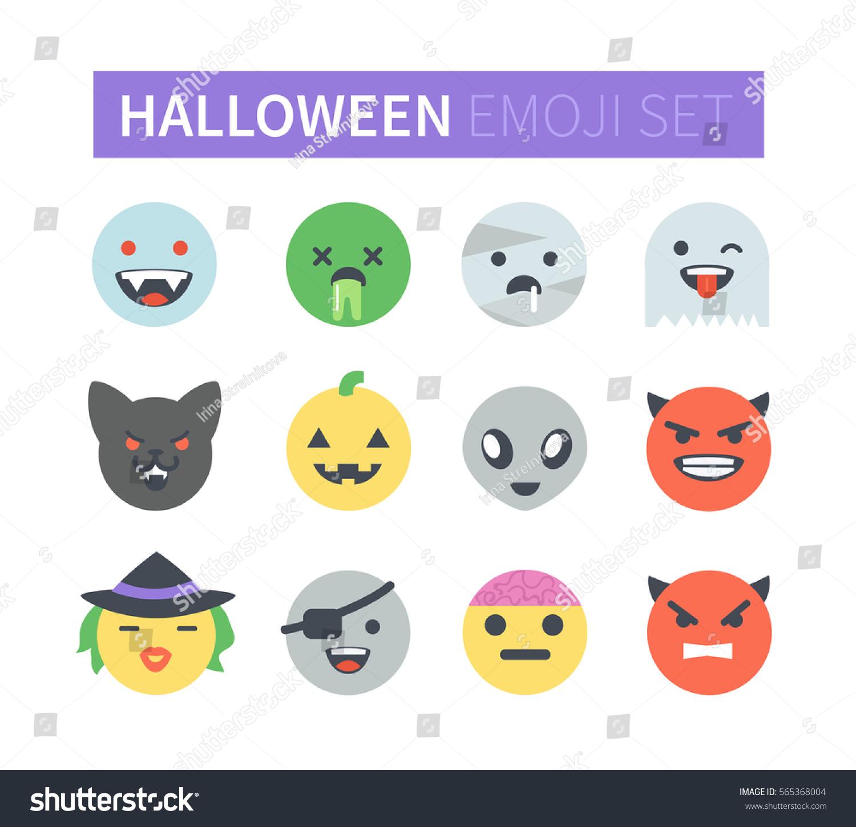 Set Flat Halloween Emoticons Emoji Icons Stock Illustration ...