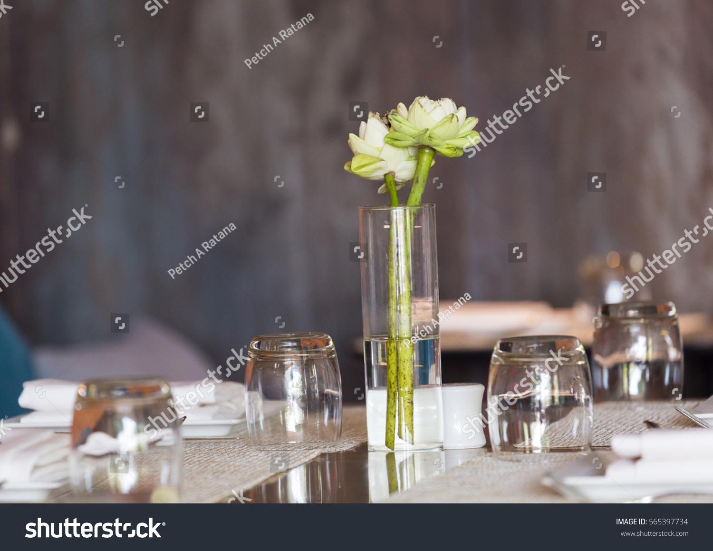 White Lotus Flowers Glass Decoration On Stock Photo Edit Now