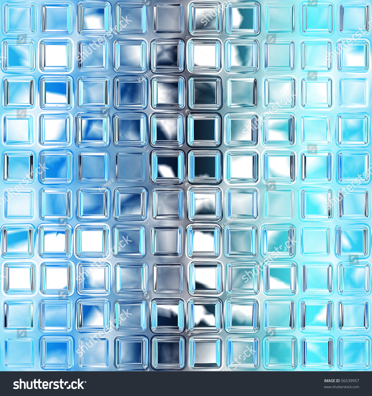 Seamless Blue Glass Tiles Texture Background Stock