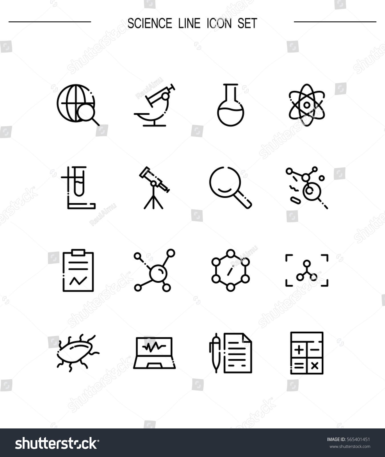 Science icon set collection high quality stock vector 565401451 collection of high quality outline symbols for web design mobile app biocorpaavc Choice Image