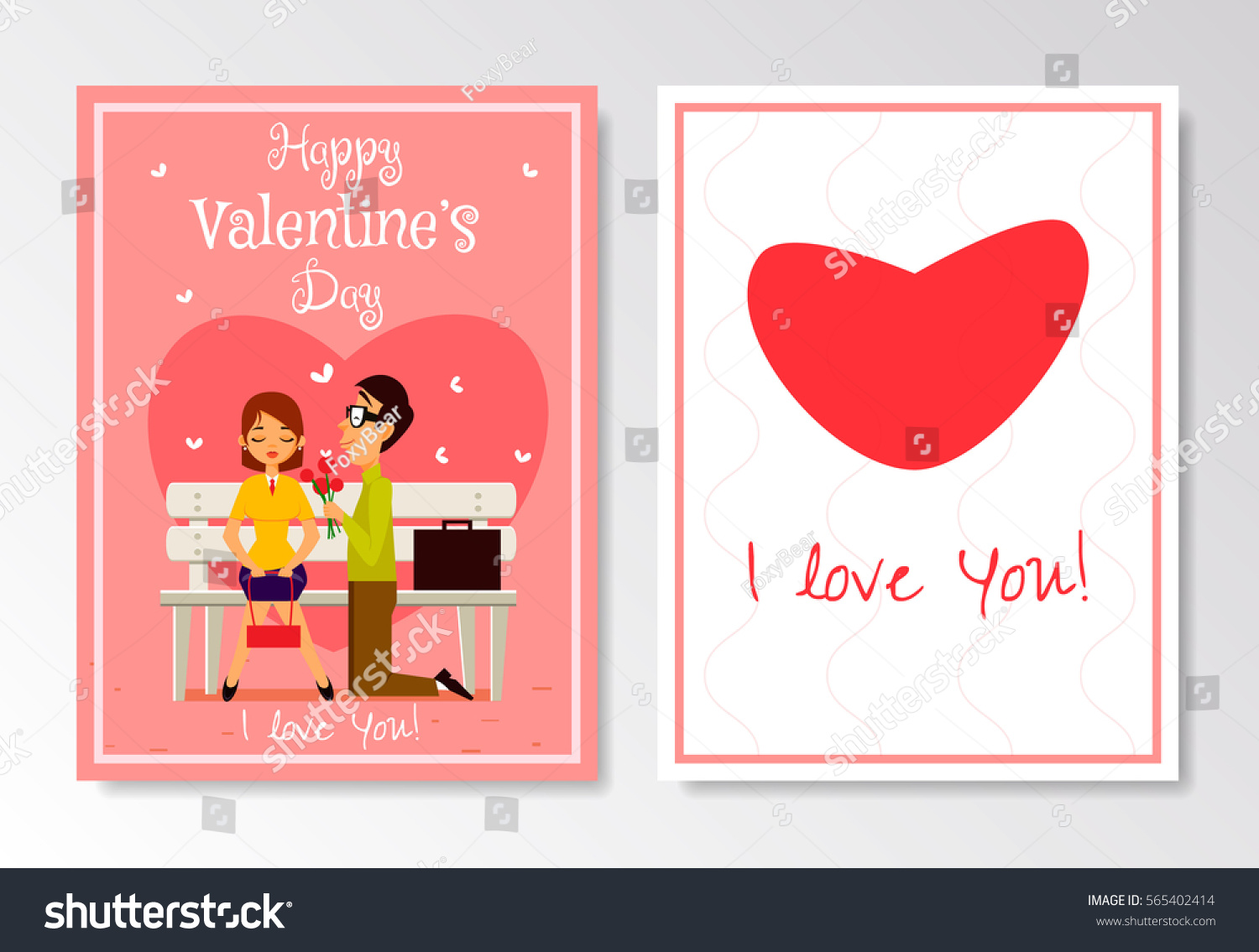 Happy valentines day greeting card template stock vector hd royalty happy valentines day greeting card template boy gives to his girlfriend flower and apologize m4hsunfo