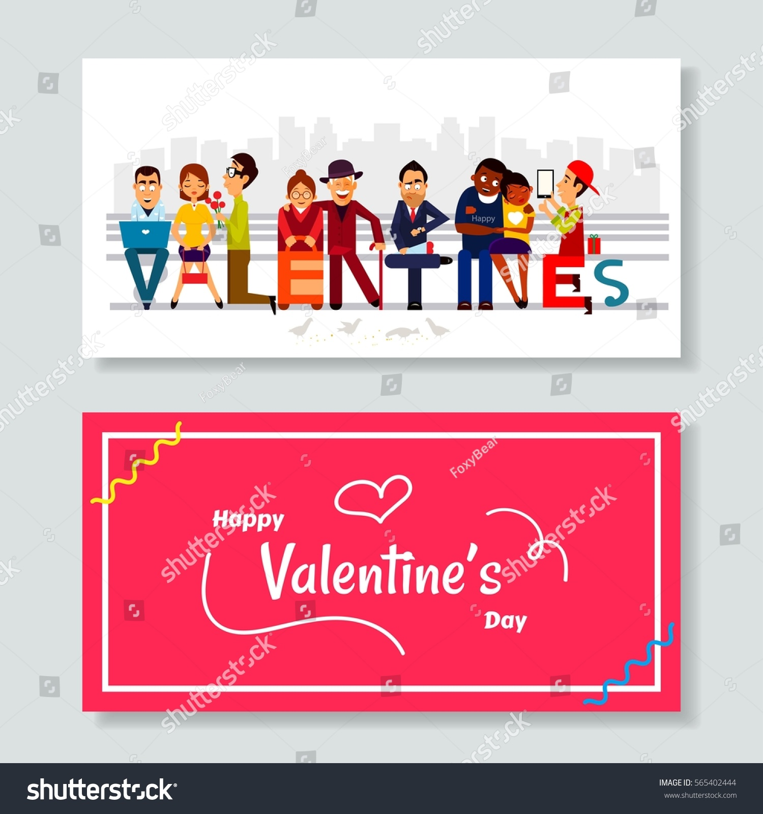 Valentine Word Illustrated Peoples Young Old Stock Vector Royalty
