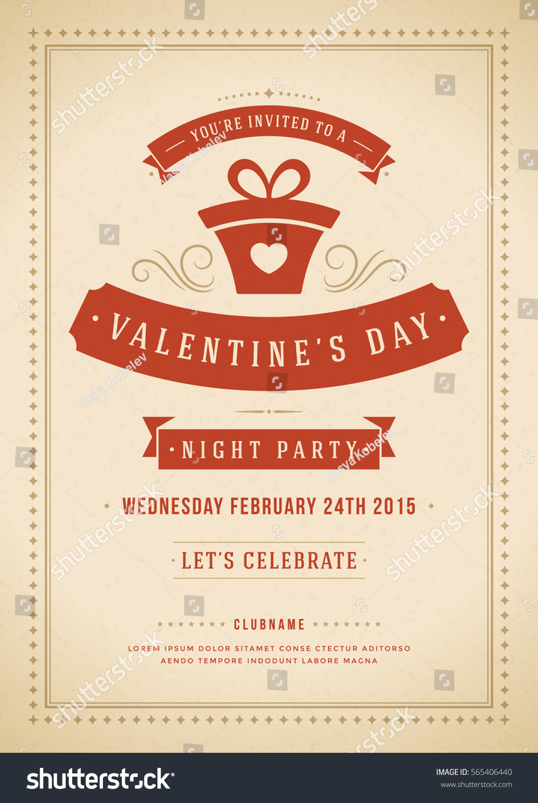 Happy Valentines Day Party Invitation or Poster Vector illustration ...
