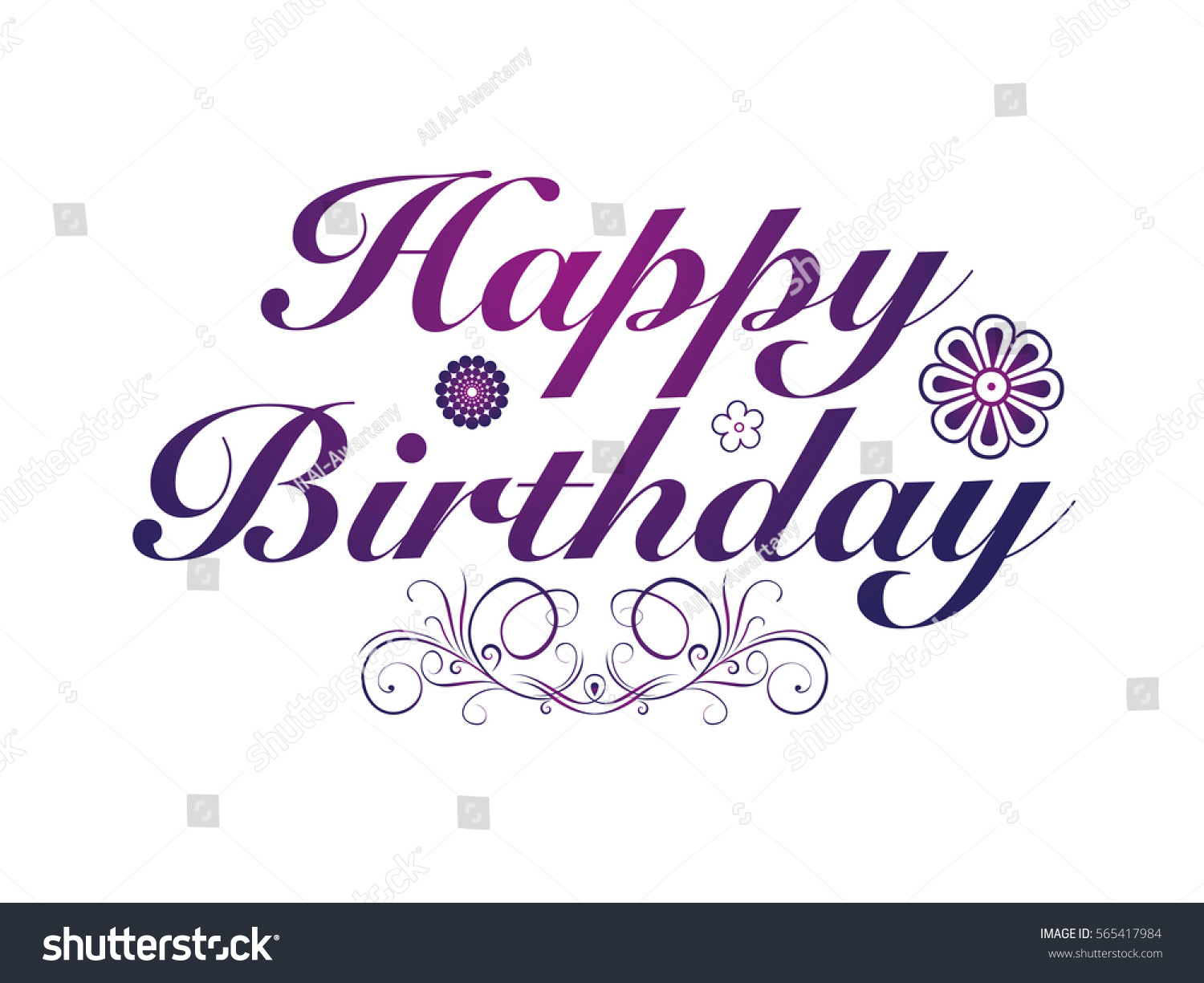 Happy Birthday Purple Color With Floral Ornament