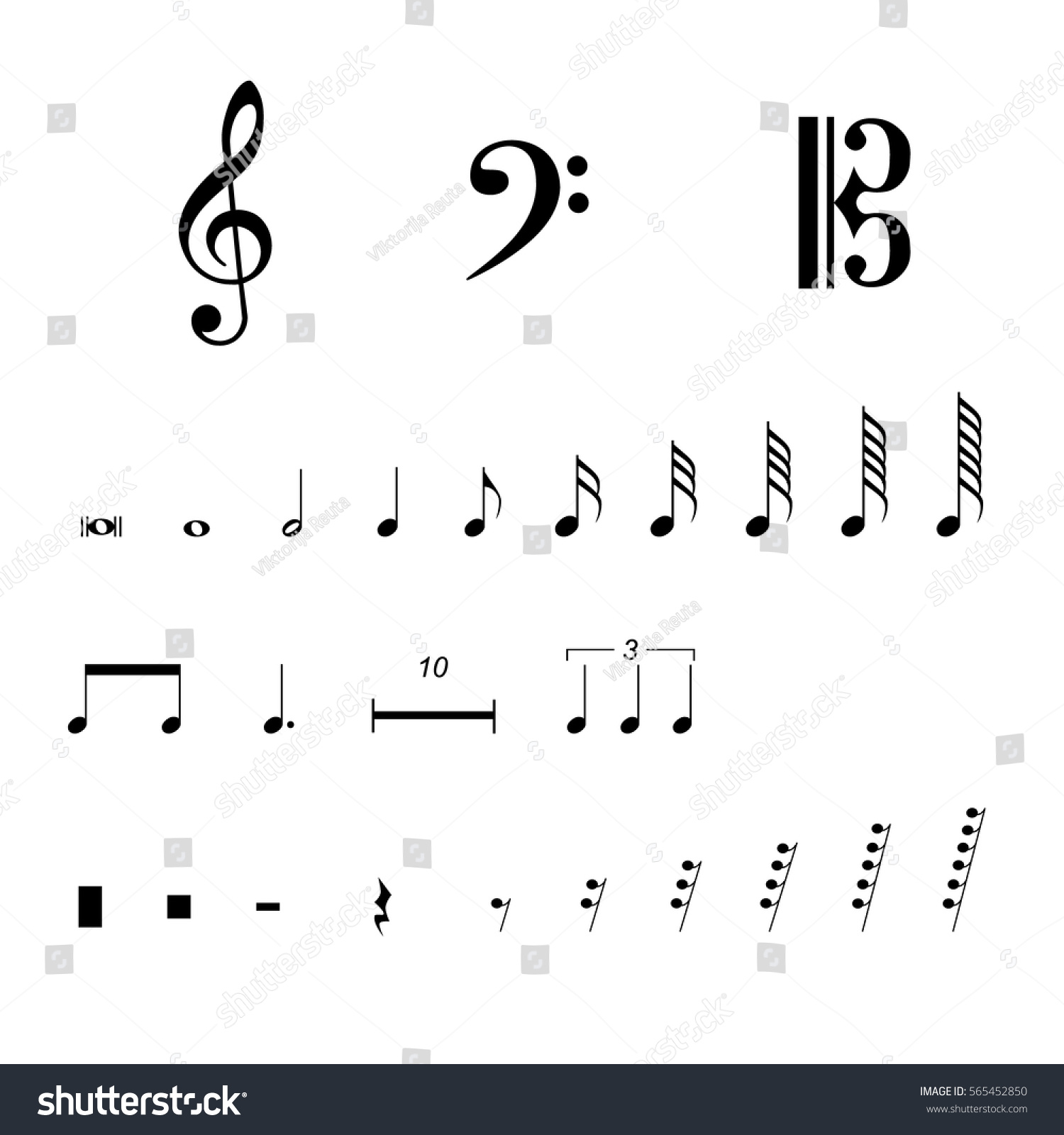 Vector Illustration Musical Notes Pauses Black Stock Vector