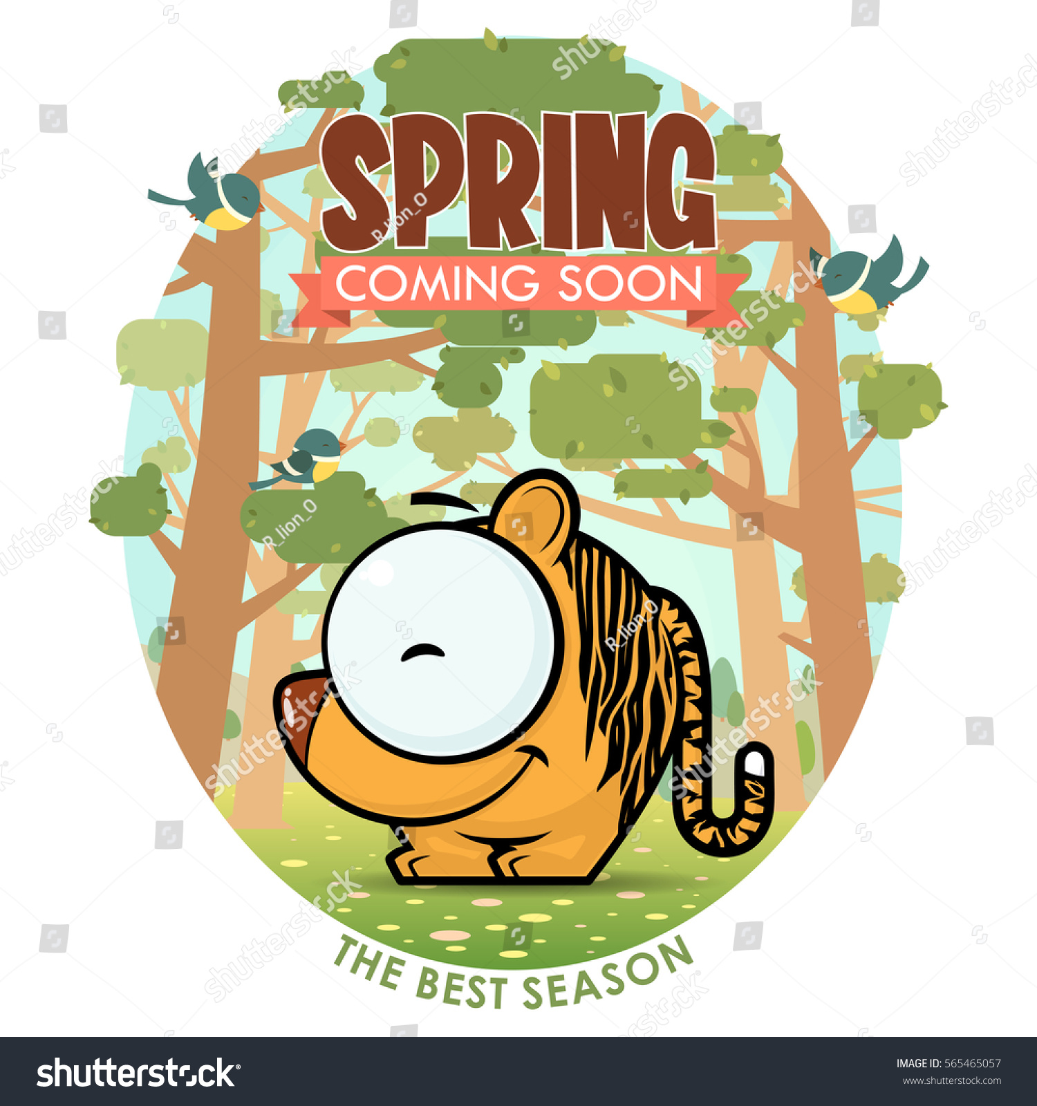 Spring Greeting Card Funny Animal Character Stock Vector Royalty