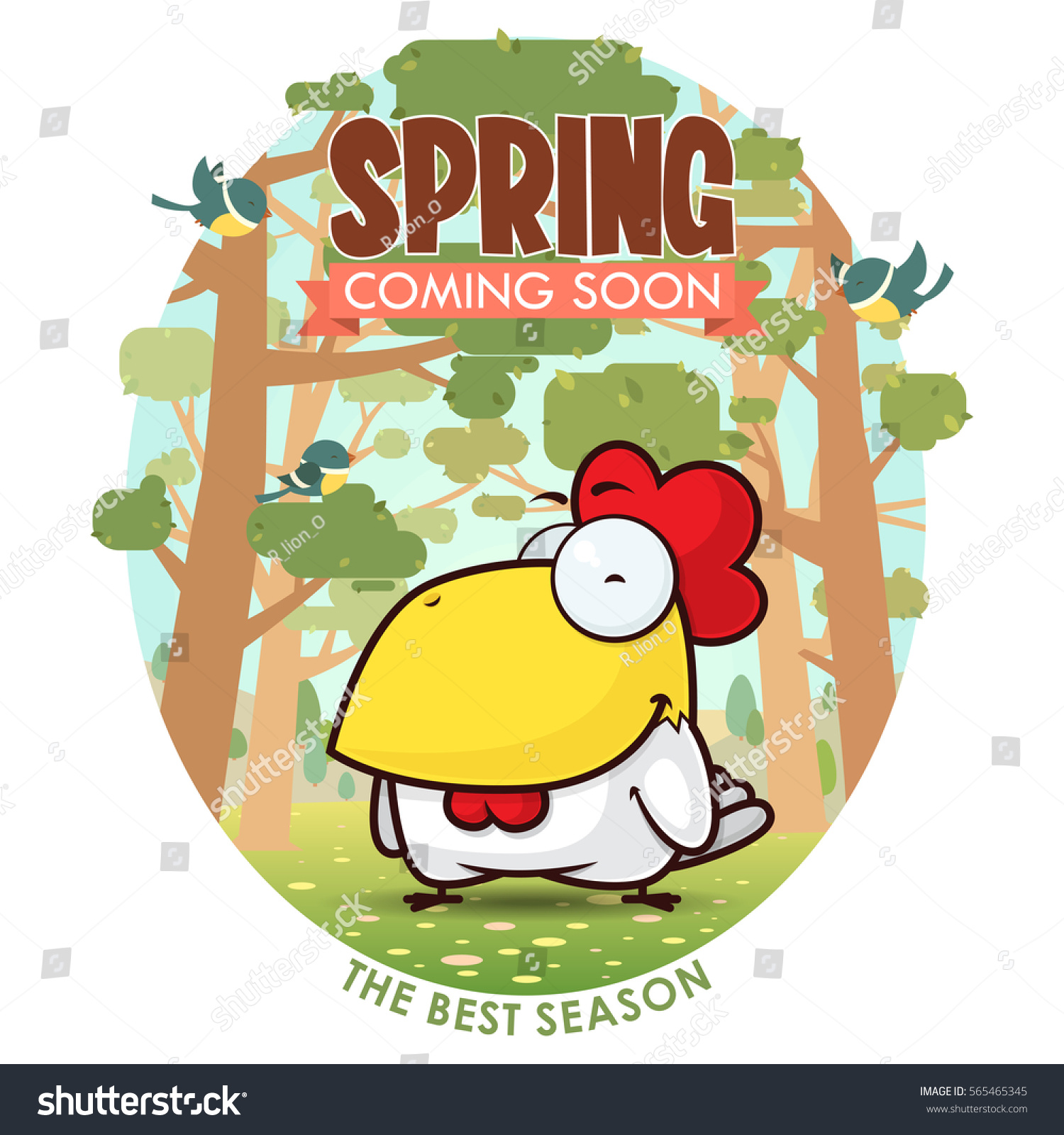 Spring Greeting Card Funny Animal Character Stock Photo Photo