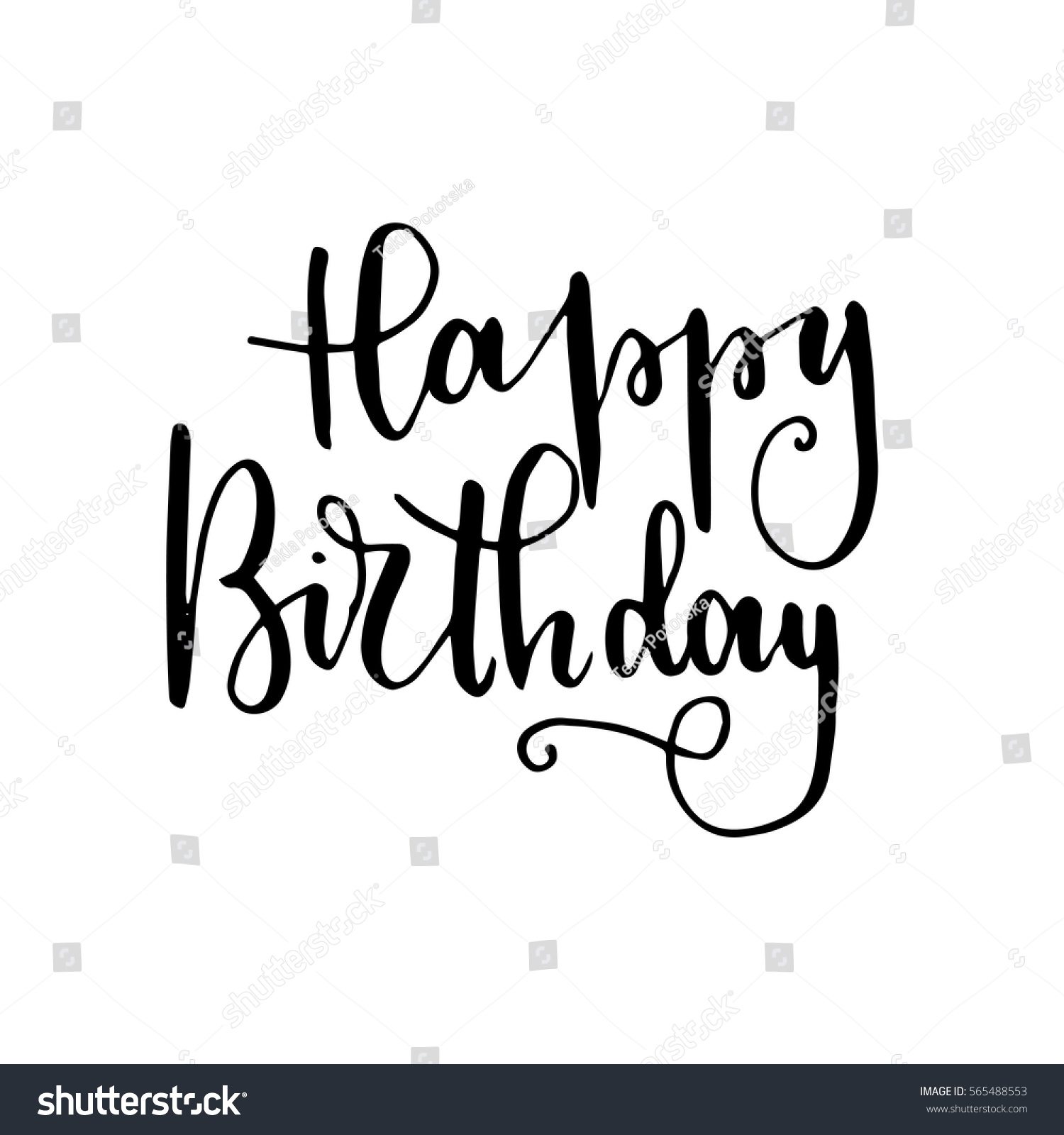 happy birthday hand lettering happy birthday lettering greeting card stock vector 22082 | stock vector happy birthday hand lettering greeting card hand drawn vector print ink quote modern brush 565488553