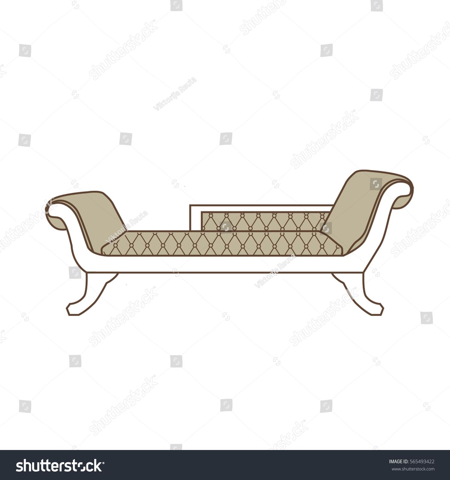 Vector Illustration Vintage Sofa, Divan Or Couch Icon. Classic Elegant  Furniture. Antique,