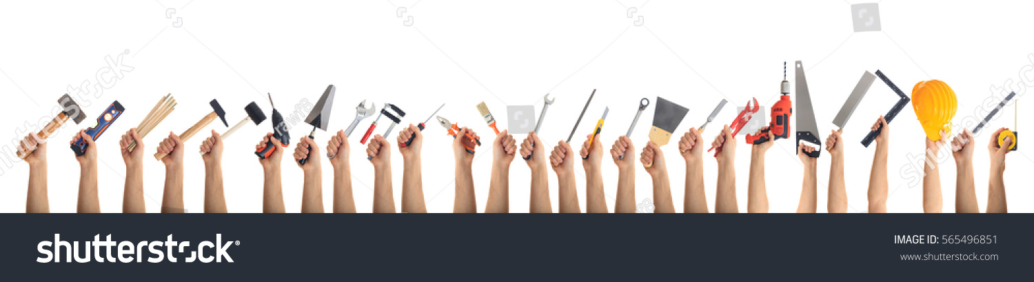 Hands holding construction tools isolated on white background. Banner, collage #565496851