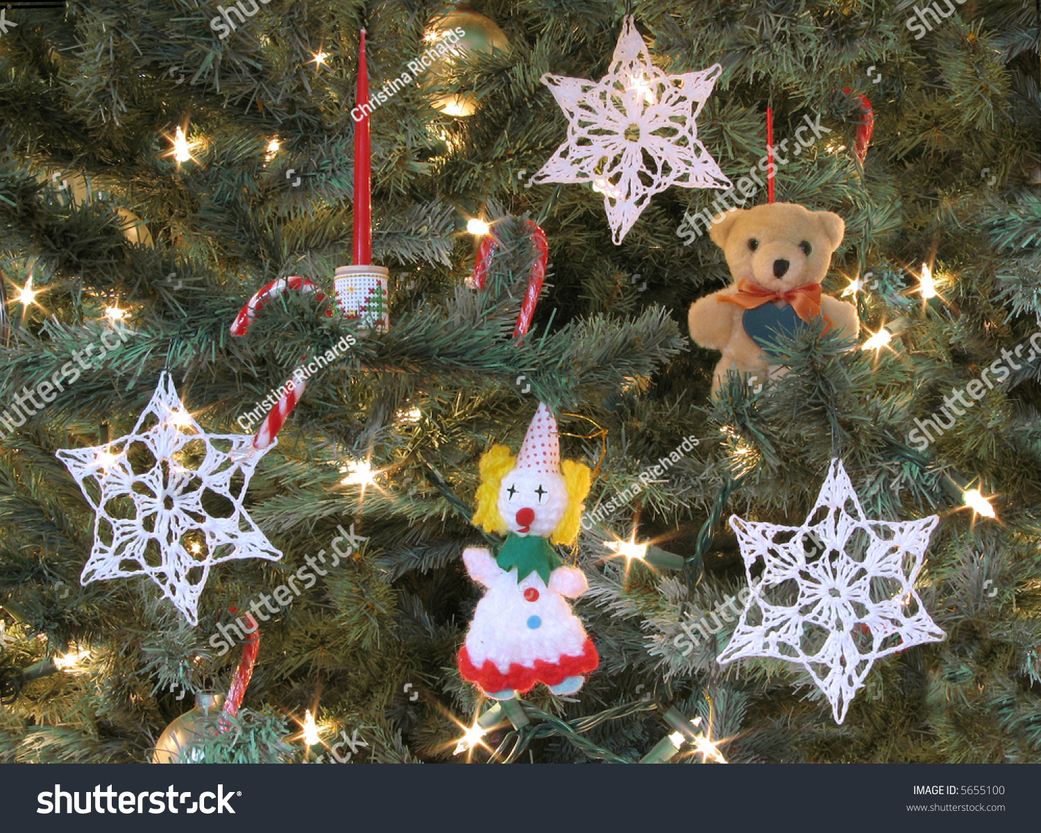 Decorations On Oldfashioned Christmas Tree Stock Photo (Edit Now ...