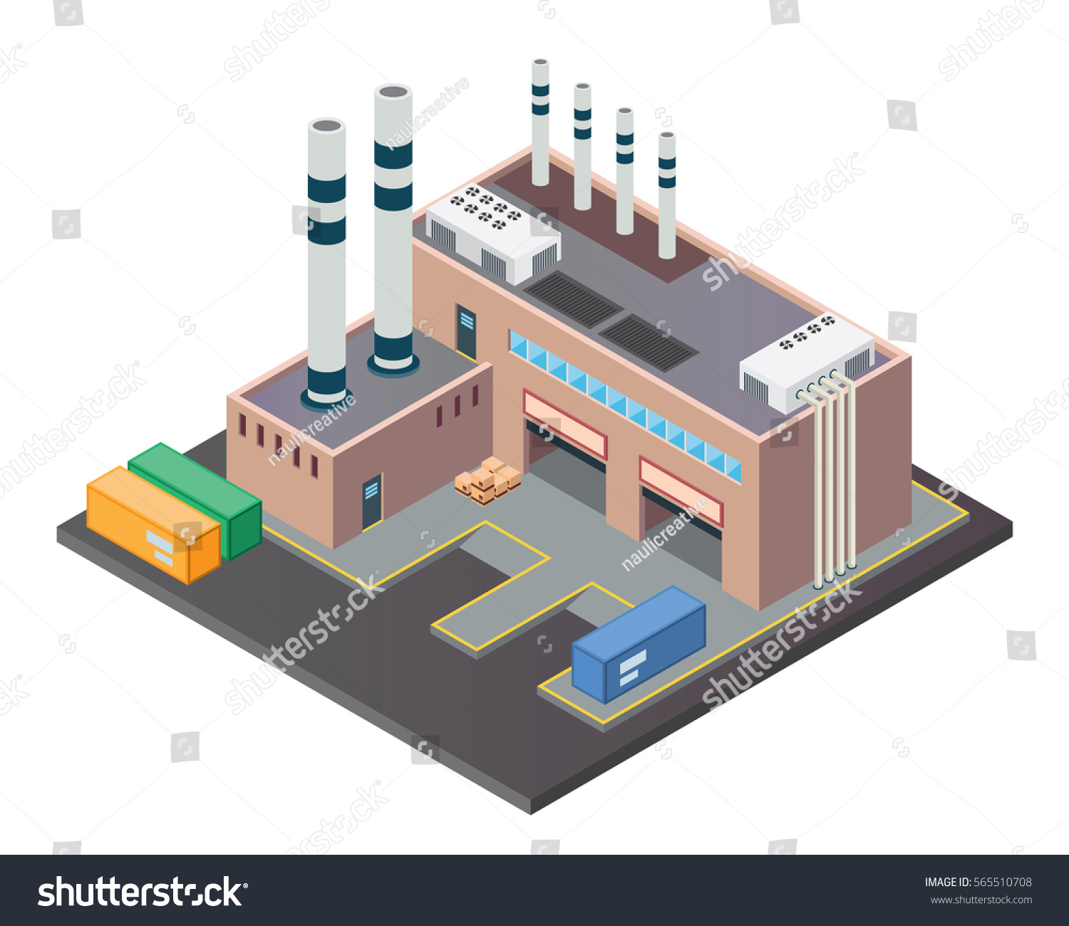 Modern Isometric Industrial Factory Warehouse Building