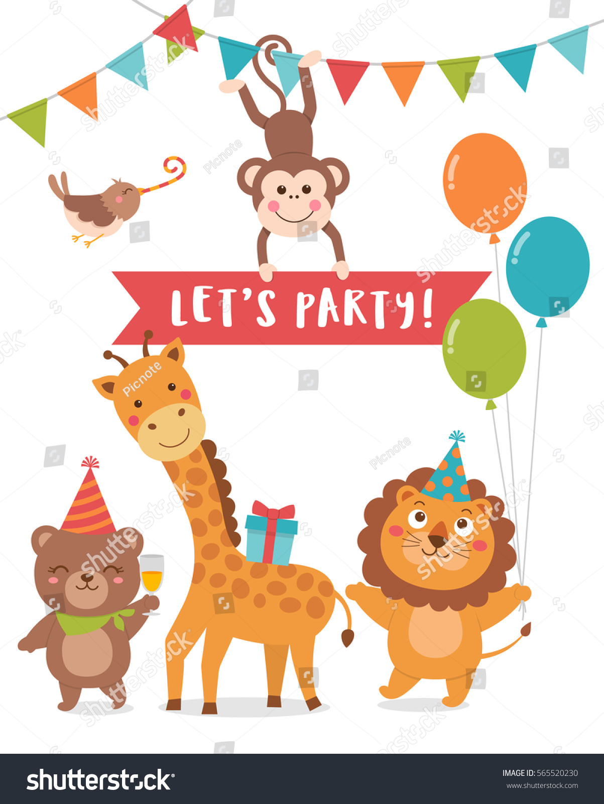 Cute Animals Cartoon Illustration Text Lets Stock Vector 565520230 ...