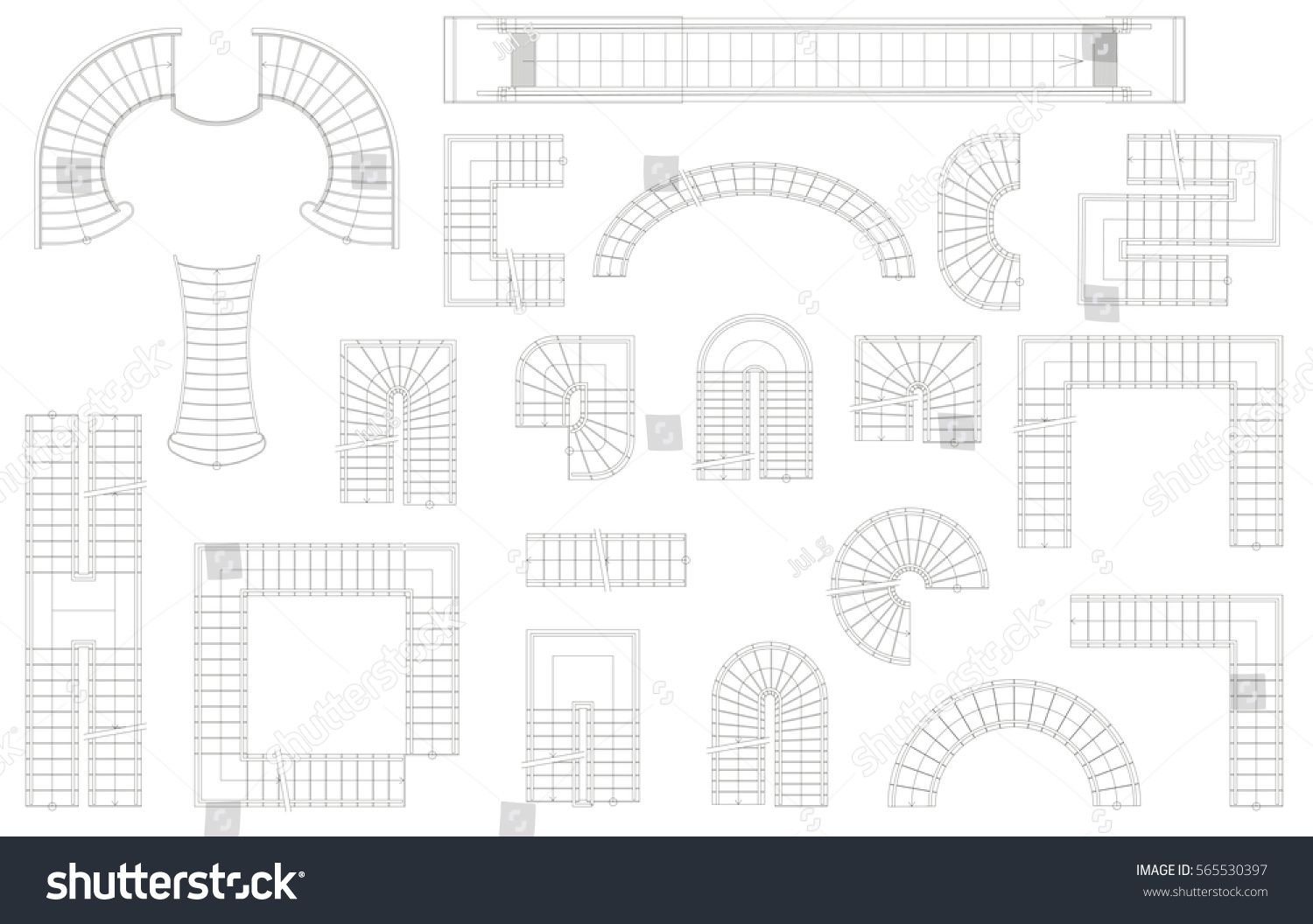Graphic Set Stairs Different Forms Top Stock Vector Royalty Free