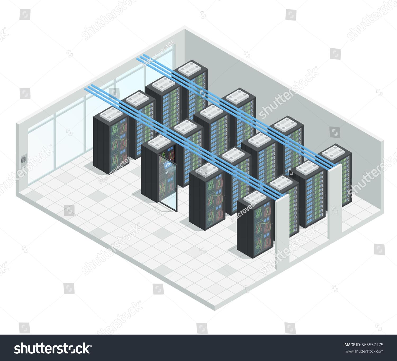 Datacenter Server Cloud Computing Isometric Interior Stock